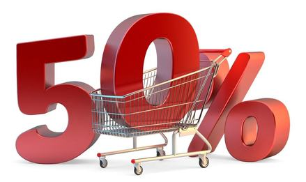 Homepage shopping cart with 50 discount sign. 3d illustration. isolated. contains clipping path 8117