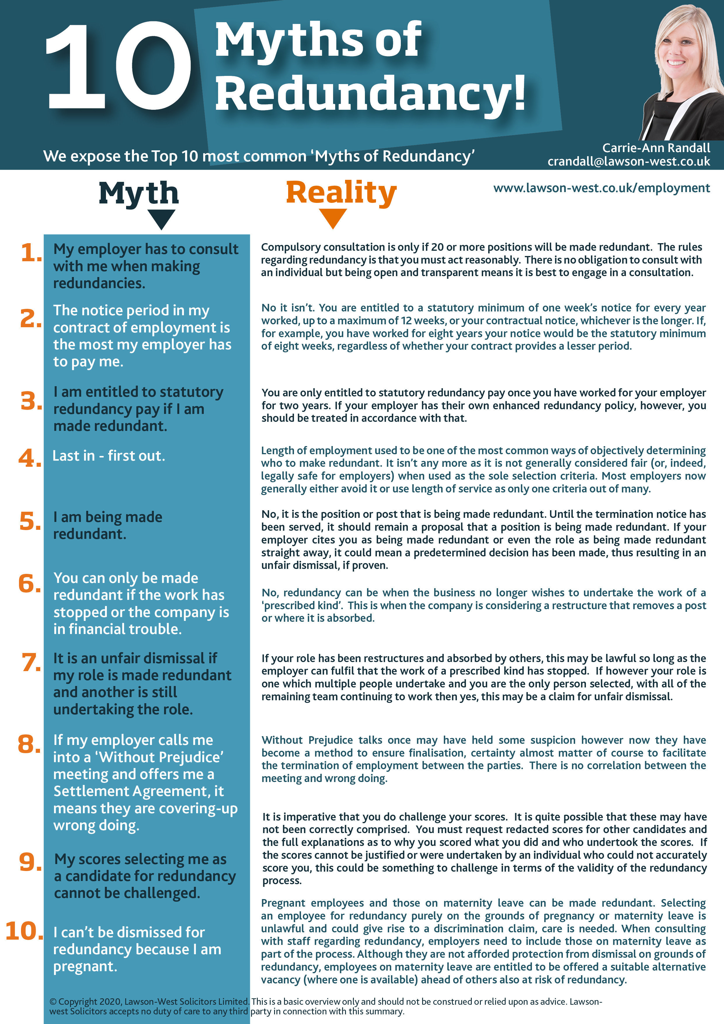 10 Myths of Redundancy, employment law & being made redundant
