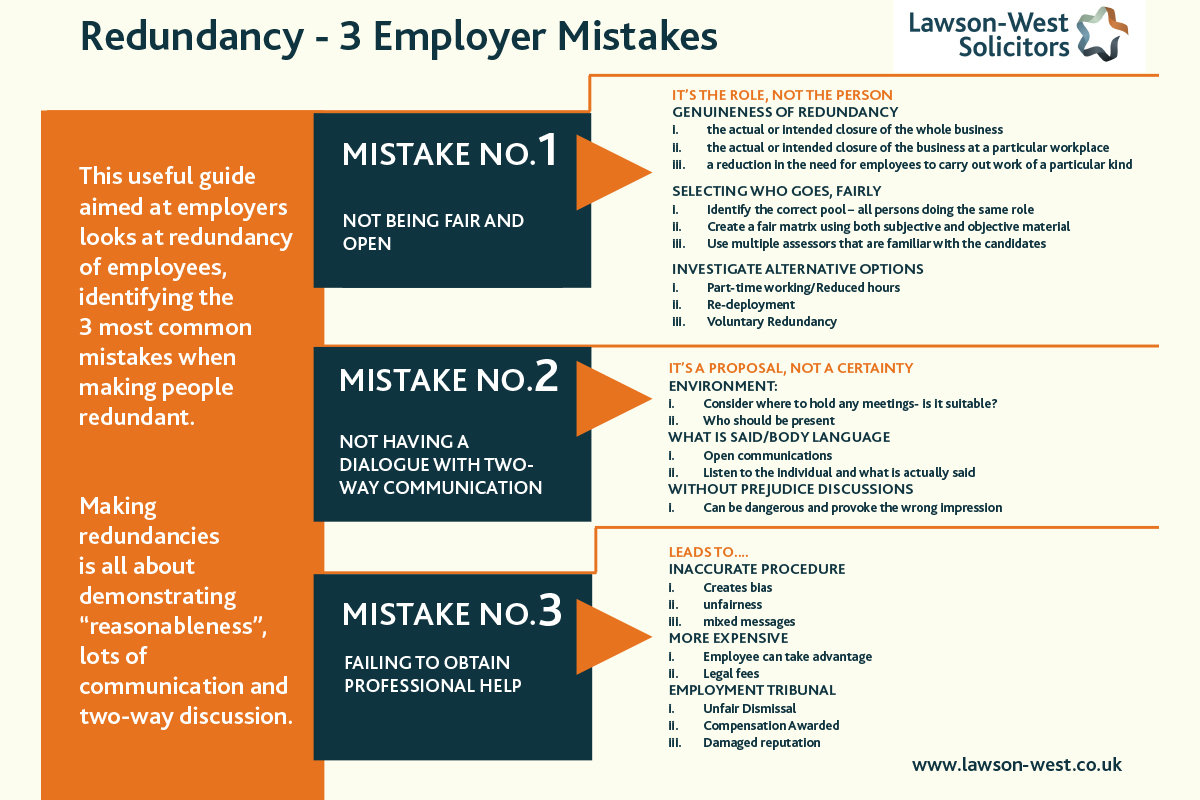 Redundancy - 3 Mistakes Employers Make when making employees redundant